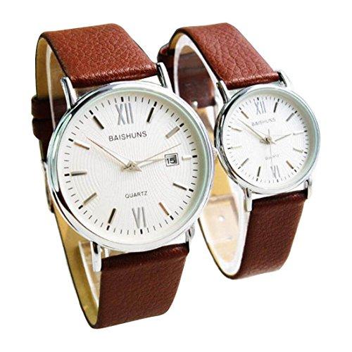 2 Pcs Watches Couple Lovers Mens Lady Women Quartz leather Wrist Uhren WPX KTW150307S