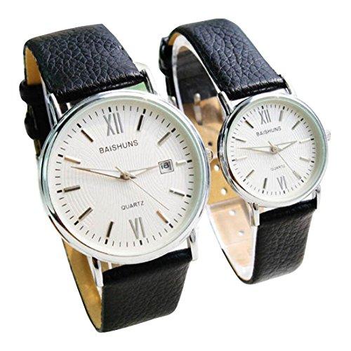 2 Pcs Watches Couple Lovers Mens Lady Women Quartz leather Wrist Uhren WPX KTW150307W