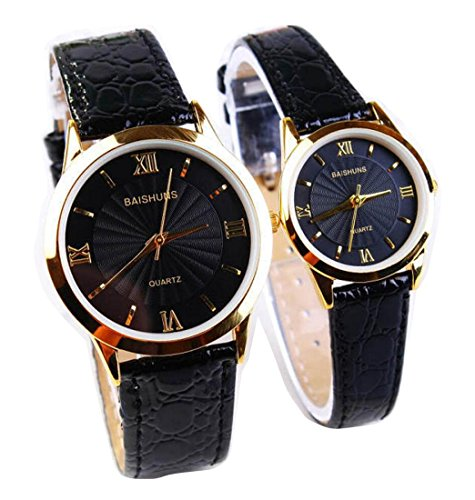 2 Pcs Watches Couple Lovers Mens Lady Women Quartz leather Wrist Uhren WPX KTW158319B