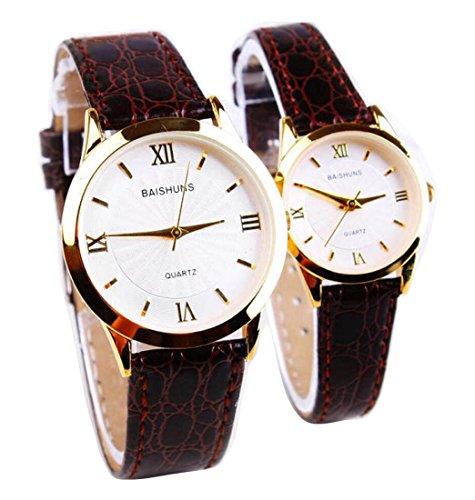 2 Pcs Watches Couple Lovers Mens Lady Women Quartz leather Wrist Uhren WPX KTW158319K