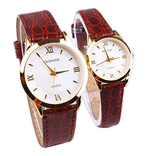2 Pcs Watches Couple Lovers Mens Lady Women Quartz leather Wrist Uhren WPX KTW158319S