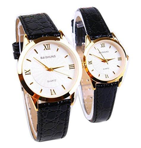 2 Pcs Watches Couple Lovers Mens Lady Women Quartz leather Wrist Uhren WPX KTW158319W