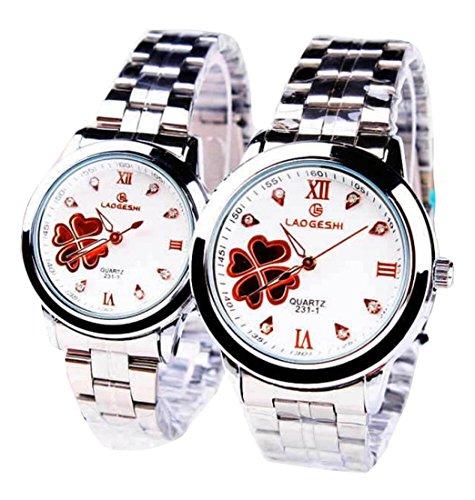 2 Pcs Watches Couple Lovers Mens Lady Women Quartz Luminous Wrist Uhren WPX KTW168645G