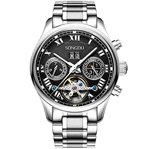 songdu Herren 7002 Peak Collection Multi Funktion Edelstahl Automatik Mechanische Uhr mit Link Armband