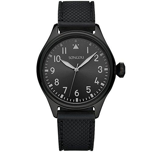 songdu Herren 9206 mint Collection superduenn Simple entworfen schwarz Ton Quarz Uhr mit Silikon Armband