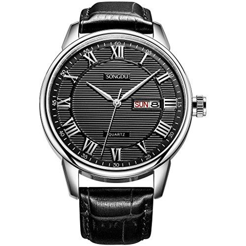 songdu Herren Casual Quarzuhr Armbanduhr mit schwarzem Zifferblatt und Lederband dm 3002 p01ey