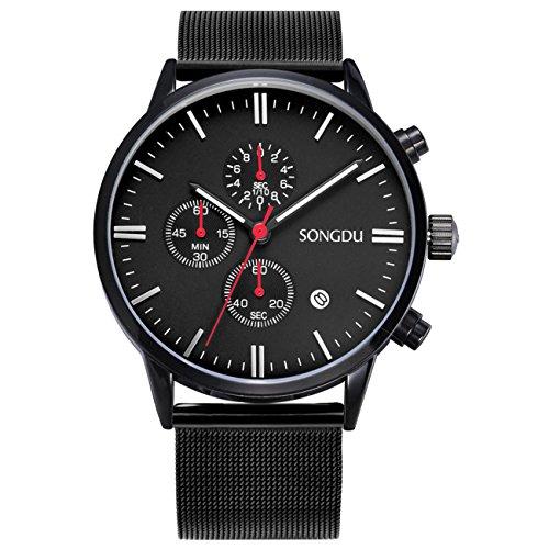 Songdu Unisex multifunktions Chronograph mit Datum Kalender und Milanese Armband