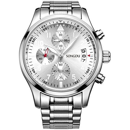 SONGDU Quarz Multifunktions Edelstahl Uhrengehaeuse und Armband DM 9202 P51AYA