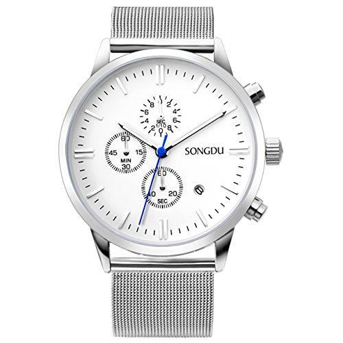 SONGDU Unisex Chronograph in Silber mit Stoppuhr Datum Kalender und Milanese Edelstahl armband