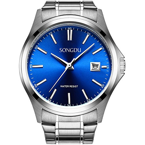SONGDU Herren Einfache Quarz Silber Edelstahl Armband Armbanduhr Mit Analog Digital Datum Kleine Blaue Vorwahlknopf