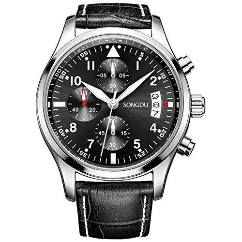 SONGDU Herren Fashion Casual Quarz Militaerische Armbanduhr mit Farbe Schwarz Lederband