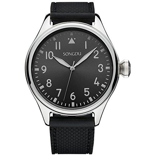 SONGDU Klassische Casual Quarz Uhr mit schwarzem Zifferblatt Silikonarmband