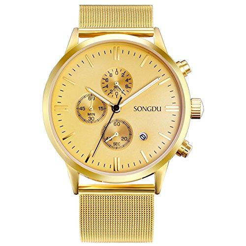SONGDU klassischer Unisex Chronograph in Goldene mir Kalenderfunktion und Milanese Armband