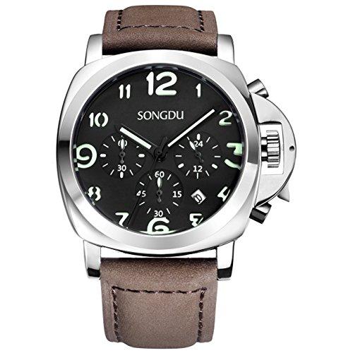 SONGDU Mens Black Uhr Datum Watchs Arabic Numbers Luminous Dial mit braunem Lederband