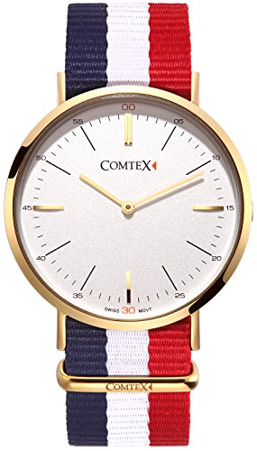 Comtex Classic Quarz Gold Ton Swiss Bewegung Weiss Zifferblatt mit Textilband