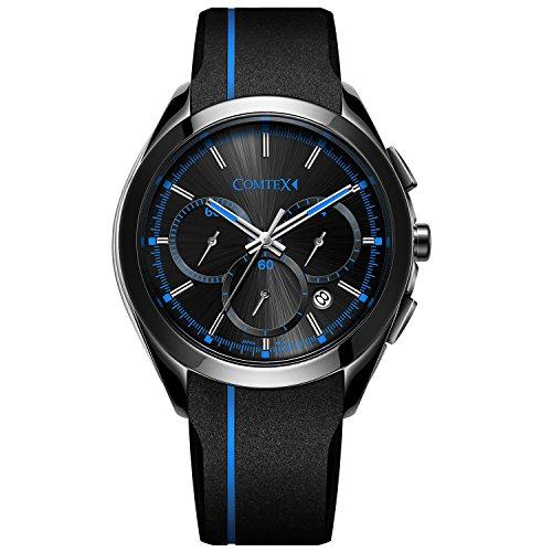 Comtex Chronograph Quarz mit schwarzem Silikon Band Sport Armbanduhr