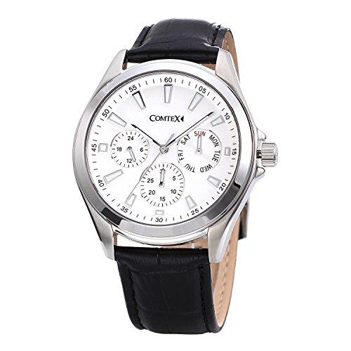 COMTEX Chronograph mit Weissem Zifferblatt und Schwarz Leder Sport Uhren
