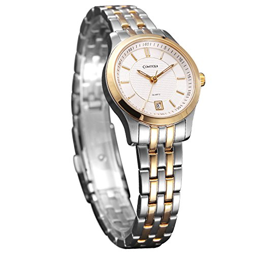 Comtex Damen Armbanduhr Quarz Analog Golden Gehaeuse mit Edelstahl Uhrarmband