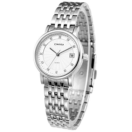 Comtex Damen Quarz Armbanduhr Weiss Gehaeuse mit Eleganz Edelstahl Armband Wasserdicht