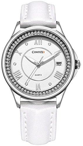 Comtex Laides Armbanduhr mit Weiss Lederband Kalender Wasserdicht bis 30 m