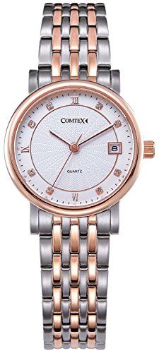 Comtex Damen Quarz Armbanduhr mit Rosen Golden Gehaeuse Edelstahl Uhrarmband Kalender