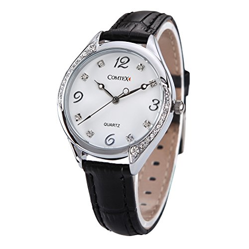 Comtex mit Schwarz Leder Armband Grosse Zifferblatt Quarz Analog Wasserdicht