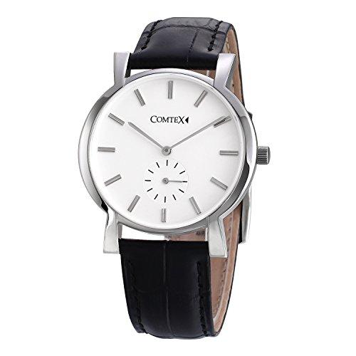 Comtex Analog Quartz mit Schwarzes Leder Chronographen Elegant Uhr