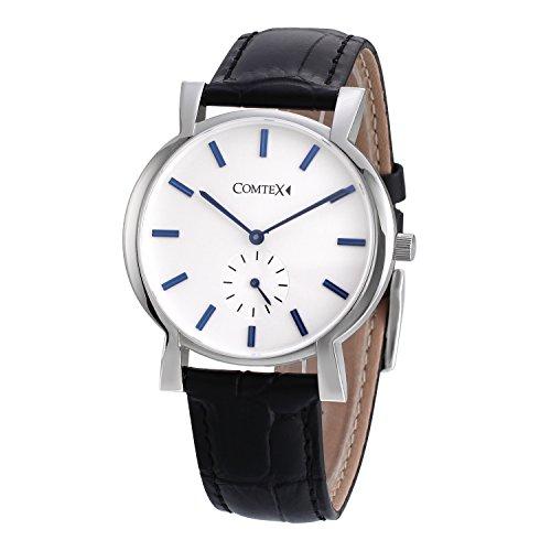 Comtex Herren Armbanduhr Analog Quartz mit Schwarzes Leder Elegant Uhr Modisch