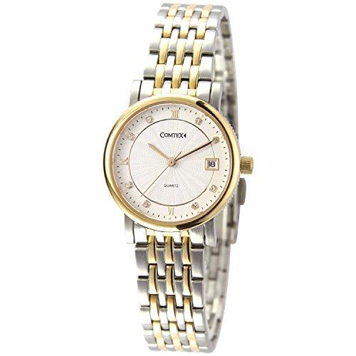 Comtex Damon Quarz Armbanduhr mit Gold und Silberfarben Edelstahl Armband Kalender Wasserdicht