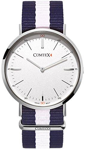 Comtex Quarz superduenn Silber Fall Classic Uhren mit Textilband