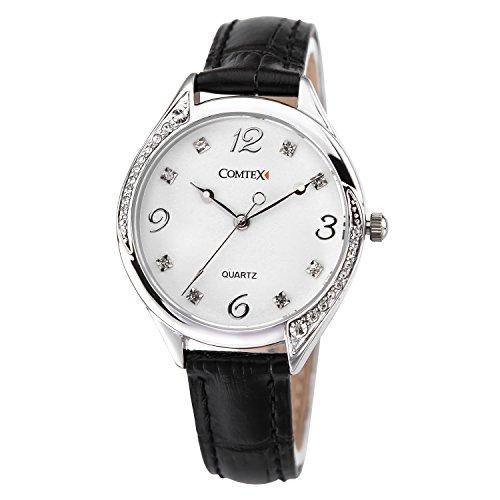Comtex Uhr modisch Zeitloses Design klassisch schwarz Leder Elegant Quarzuhr