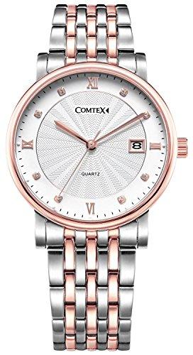 Comtex mit Weiss Zifferblatt Roemischen Ziffern Analog Quarz Edelstahl Uhrarmband