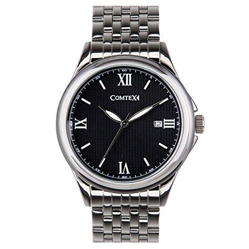 Comtex mit Schwarz Zifferblatt Roemischen Ziffern Analog Quarz Edelstahl Uhrarmband Wasserdicht