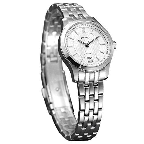 Comtex Damen mit Weiss Zifferblatt Analoge und Edelstahl Uhrarmband Luminous Armbanduhr Wasserdicht