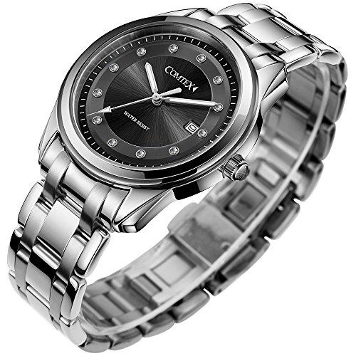 Comtex Silberne Gehaeuse mit Schwarz Zifferblatt Analog Edelstahl Uhrarmband Wasserdicht