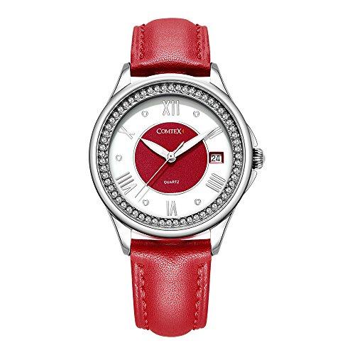 Comtex Charmant Uhr Rot Lederarmband Analog Quarz Wasserdicht