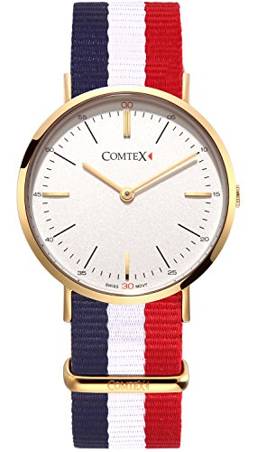 Comtex Analog Quarz mit Weiss Zifferblatt Stoff Armband