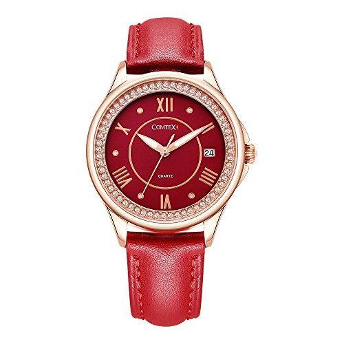 Comtex Damen Armbanduhr Uhren Analog Quarz Rot Ziffernblatt Lederband