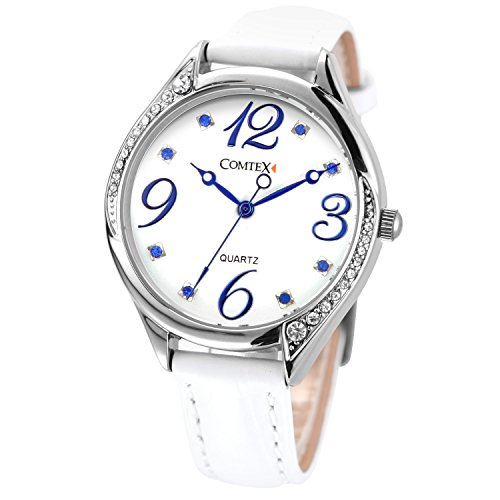 Comtex Weiss Leder Armbanduhr Analog Quarz Wasserdicht