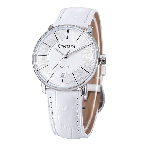Comtex Fashion Analog Quarz Weiss Leder Wasserdicht