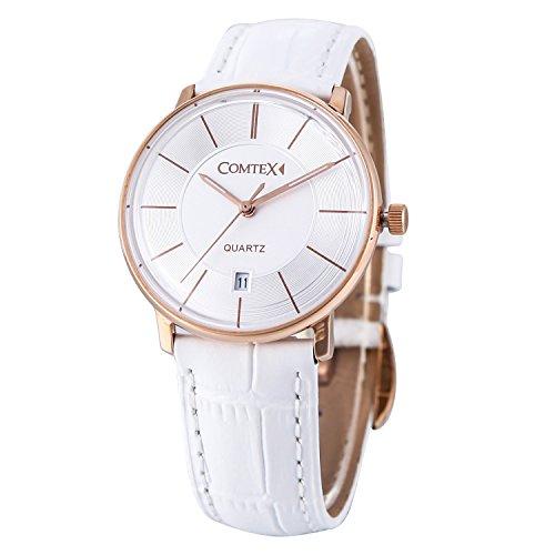 Comtex Damen Armbanduhr mit Rose Golden Fall und weiss Leder Kalender Display