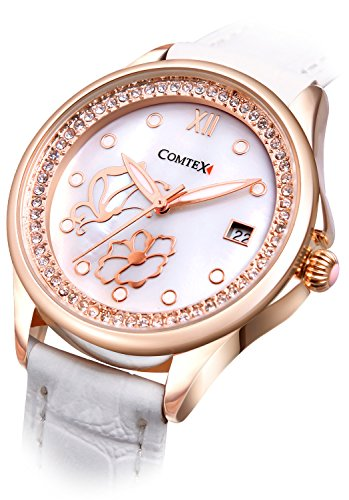 Comtex Modische Damen Armbanduhr Quarz mit Weiss Zifferblatt Weiss Lederband Armbanduhr Wasserdicht
