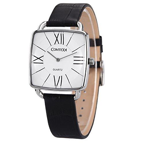 Comtex Damen Armbanduhr mit weissem Zifferblatt und schwarzem Leder Classic Uhren