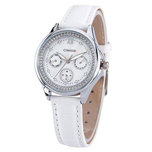 Comtex Damen weiss Lederband quartz analog weiss Armbanduhr
