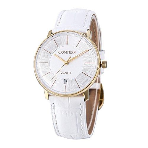 Comtex Damen Fashion Bergkristall rund und Curved Face Uhren mit Weiss Lederband wasserdicht