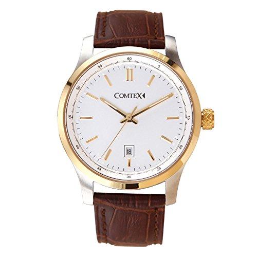 Comtex Quarz Analog mit golden Gehaeuse braun Leder Uhren