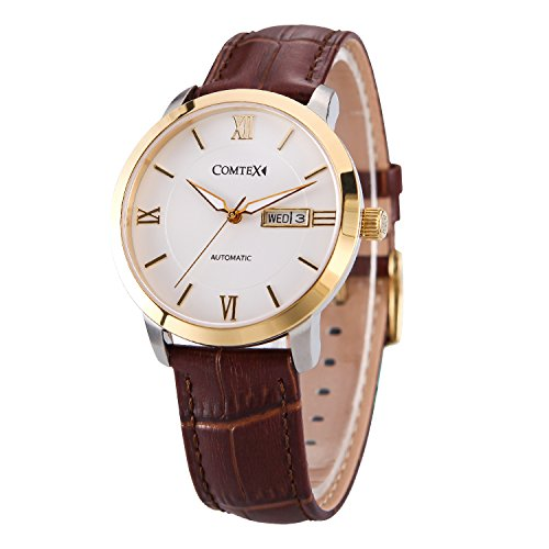 Comtex Herren Armbanduhr Automatik Uhr mit Brauns Leder