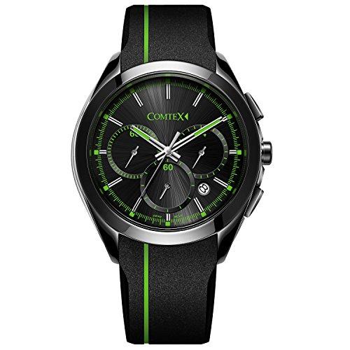 COMTEX Chronograph Quarz mit Schwarz Leder Sport Uhren