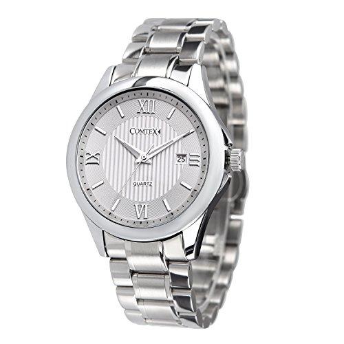 Comtex Herren Armbanduhr Silber Ton Uhren mit Edelstahl Band Kalender Kleid Armbanduhr