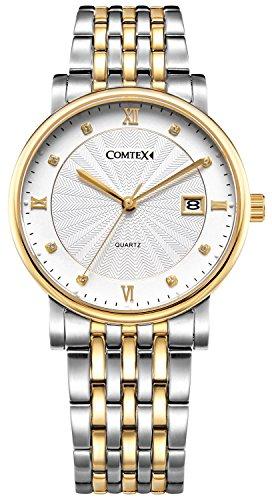Comtex Luxus Herren Armbanduhr Golden Gehaeuse mit Edelstahl Uhrarmband Kalender Kleid Armbanduhr